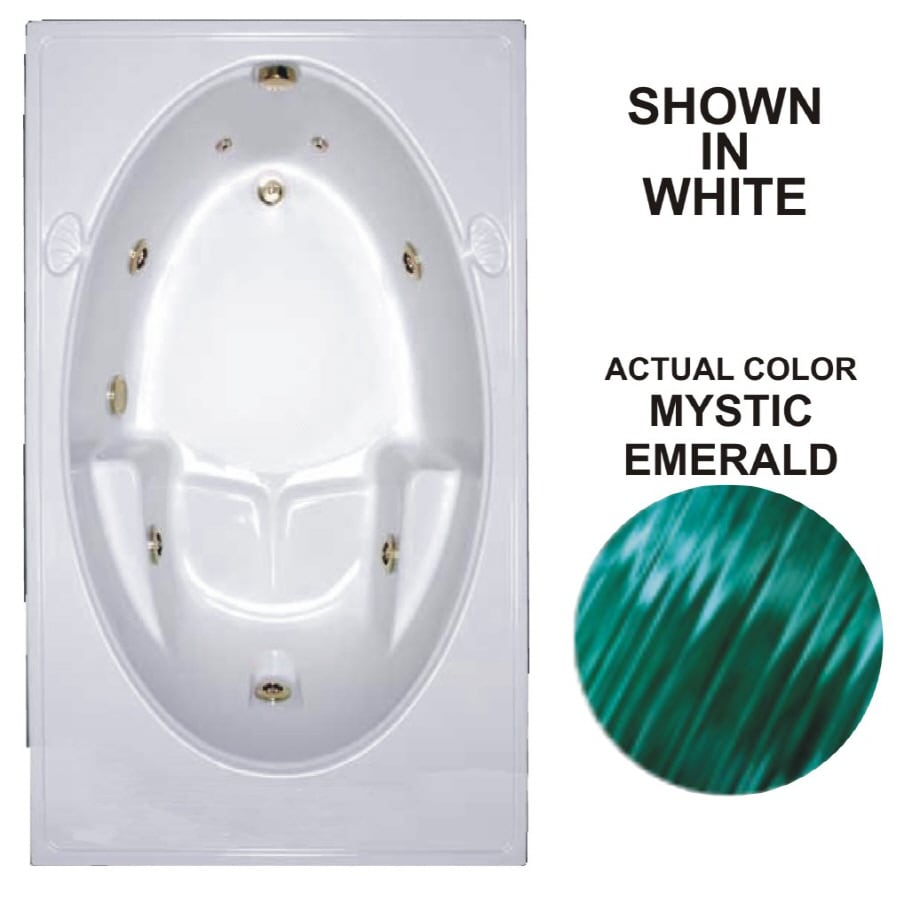Watertech Whirlpool Baths Warertech Mystic Emerald Acrylic Oval In Rectangle Whirlpool Tub (Common: 42-in x 72-in; Actual: 19-in x 41.5-in x 59.75-in)