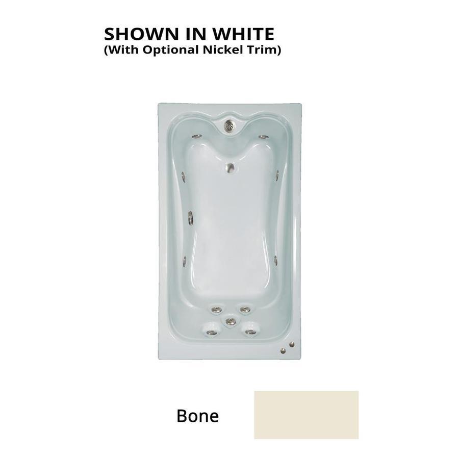 Watertech Whirlpool Baths Warertech Bone Acrylic Rectangular Whirlpool Tub (Common: 36-in x 72-in; Actual: 21.5-in x 36-in x 72-in)