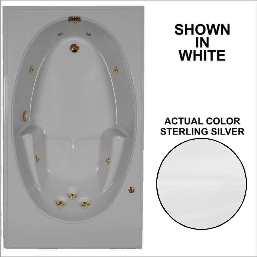 Watertech Whirlpool Baths 59.75-in Sterling Silver Acrylic Drop-In Whirlpool Tub with Reversible Drain