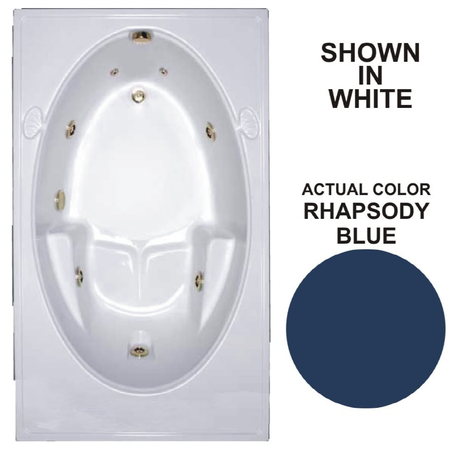 Watertech Whirlpool Baths Warertech 59.75-in Rhapsody Blue Acrylic Drop-In Whirlpool Tub with Reversible Drain