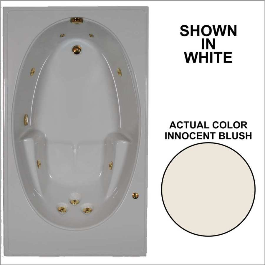 Watertech Whirlpool Baths 59.75-in Innocent Blush Acrylic Drop-In Whirlpool Tub with Reversible Drain
