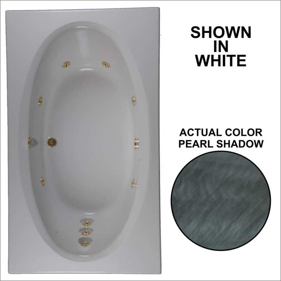 Watertech Whirlpool Baths Designer Pearl Shadow Acrylic Oval In Rectangle Whirlpool Tub (Common: 42-in x 72-in; Actual: 20.75-in x 41.75-in x 71.625-in)