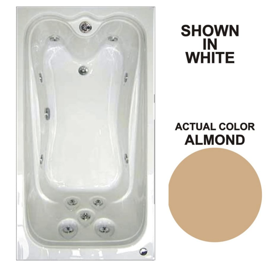 Watertech Whirlpool Baths Elite 59.75-in Almond Acrylic Drop-In Whirlpool Tub with Reversible Drain