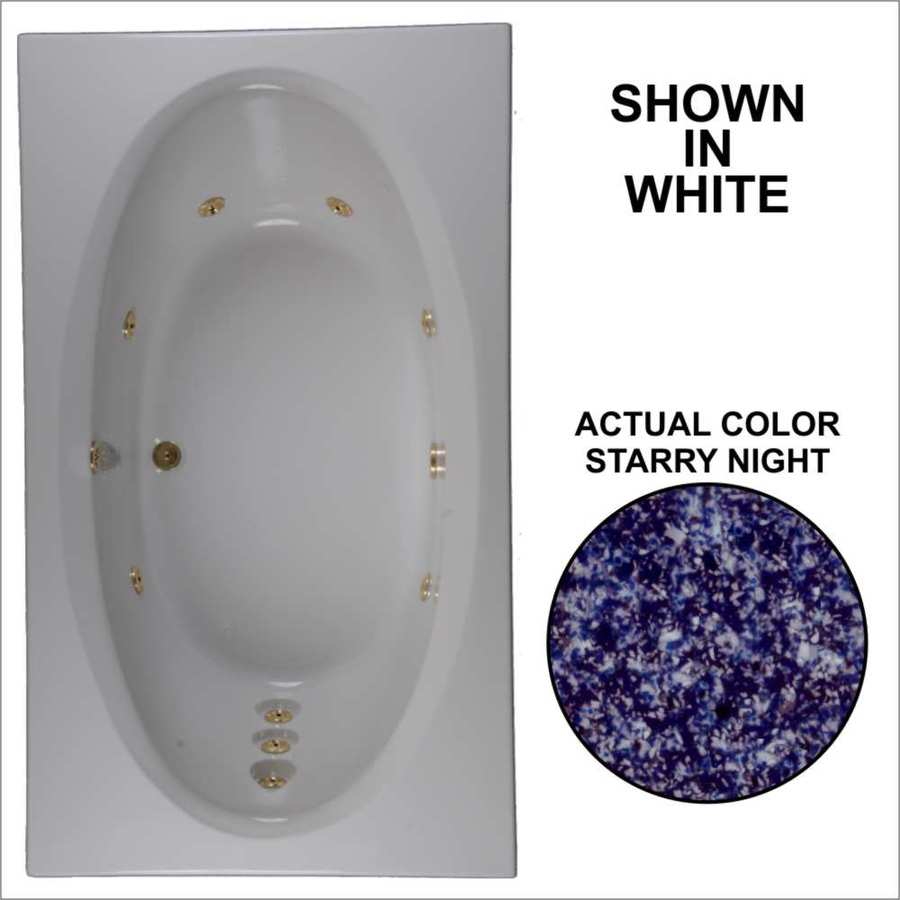 Watertech Whirlpool Baths Designer Starry Night Acrylic Oval In Rectangle Whirlpool Tub (Common: 42-in x 72-in; Actual: 20.75-in x 41.75-in x 71.625-in)
