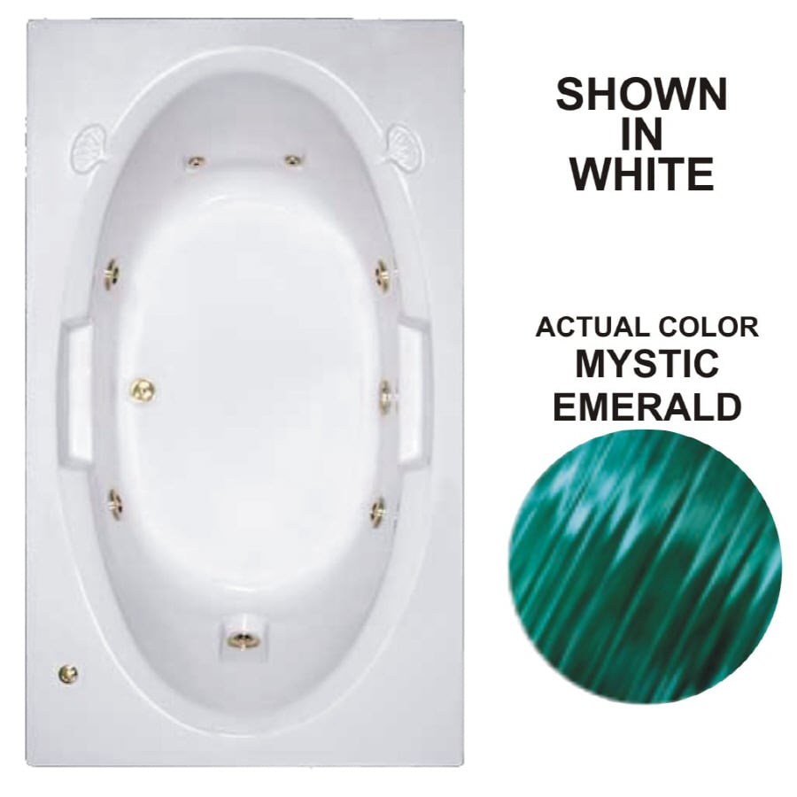 Watertech Whirlpool Baths Designer 71.625-in Mystic Emerald Acrylic Drop-In Whirlpool Tub with Reversible Drain