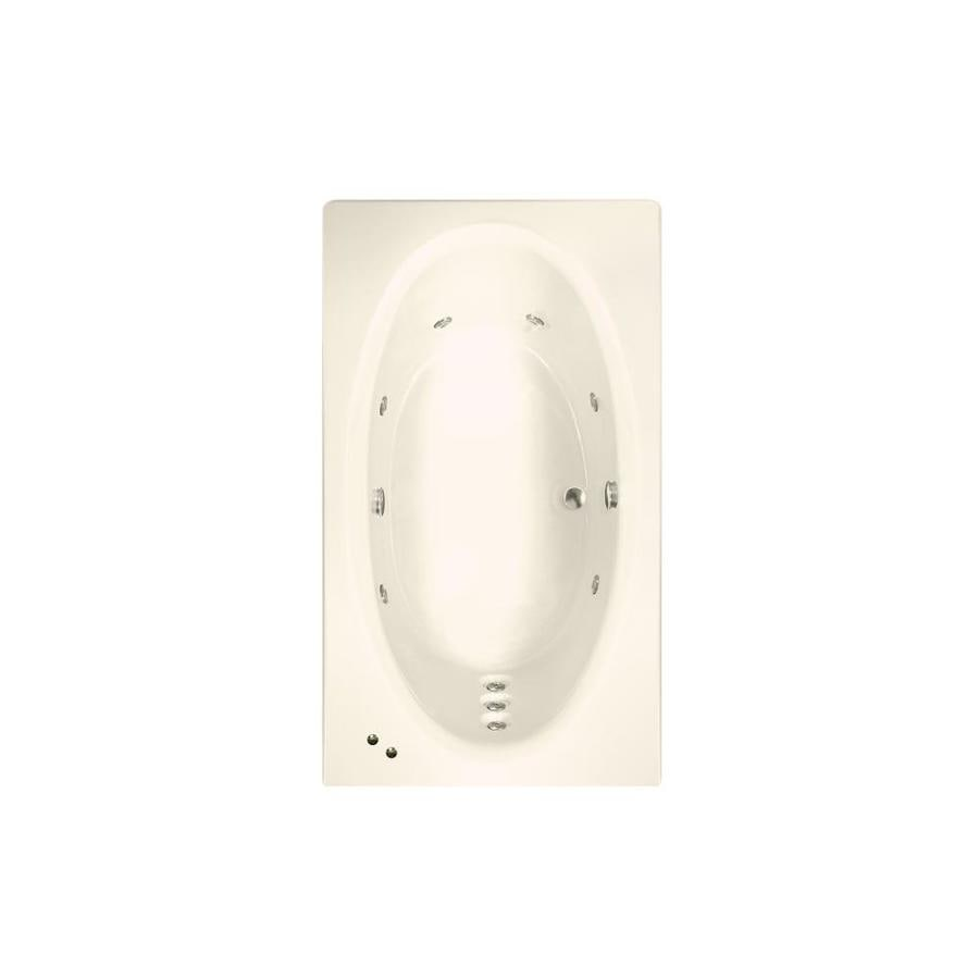 Watertech Whirlpool Baths Designer 71.625-in Bone Acrylic Drop-In Whirlpool Tub with Reversible Drain