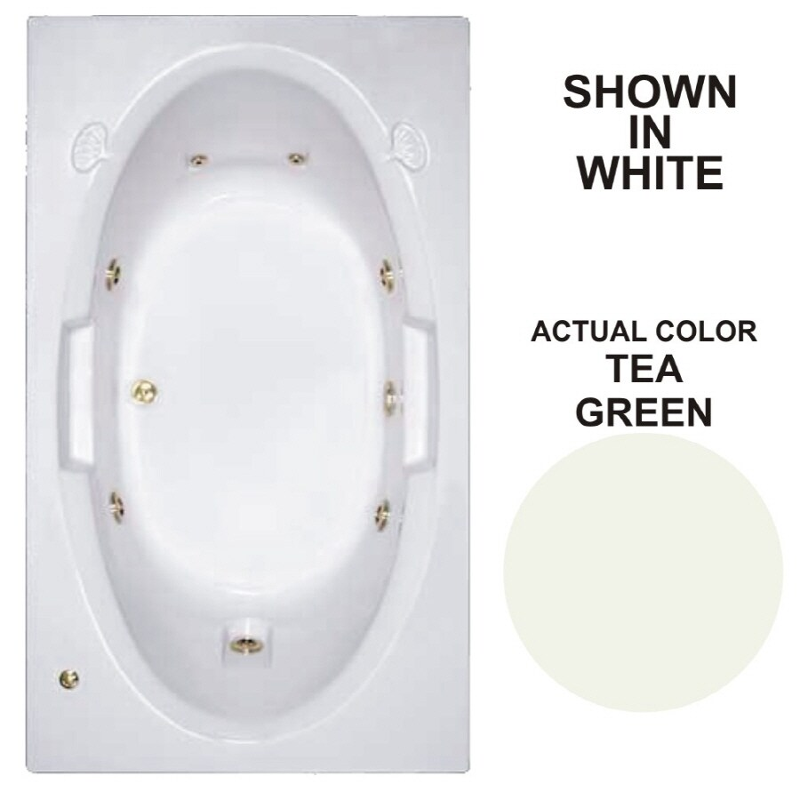 Watertech Whirlpool Baths Designer Tea Green Acrylic Oval In Rectangle Whirlpool Tub (Common: 42-in x 72-in; Actual: 20.75-in x 41.75-in x 71.625-in)