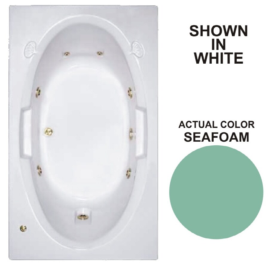 Watertech Whirlpool Baths Designer Seafoam Acrylic Oval In Rectangle Whirlpool Tub (Common: 42-in x 72-in; Actual: 20.75-in x 41.75-in x 71.625-in)