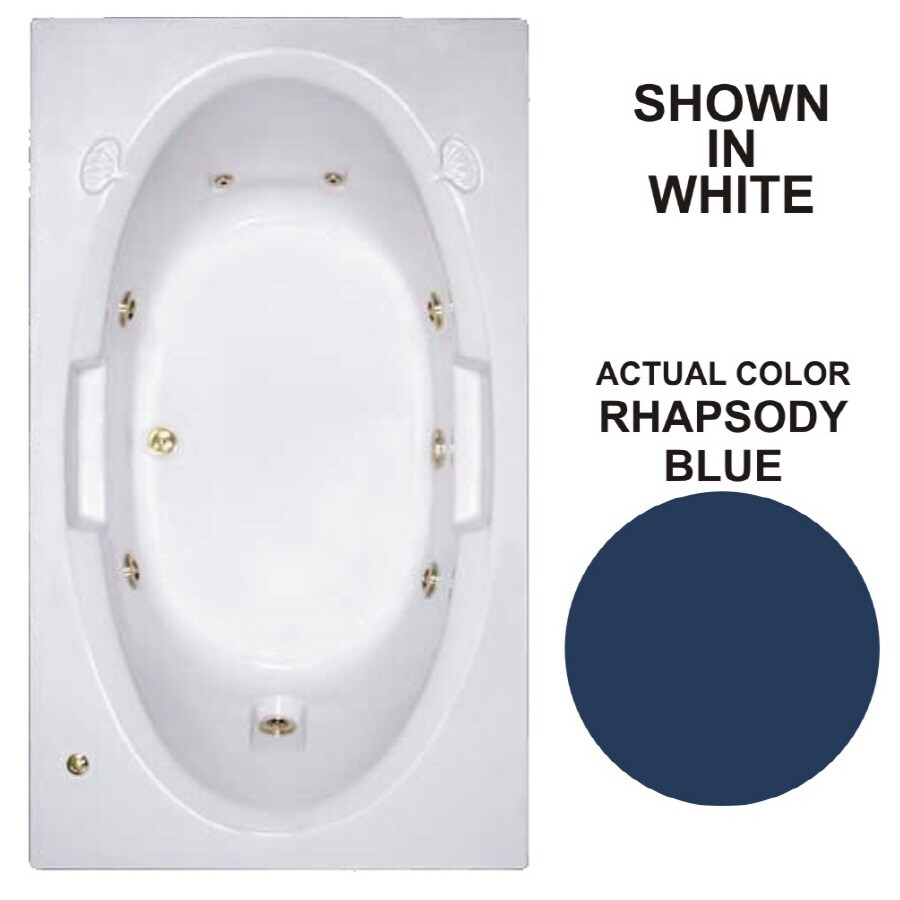 Watertech Whirlpool Baths Designer 71.625-in Rhapsody Blue Acrylic Drop-In Whirlpool Tub with Reversible Drain