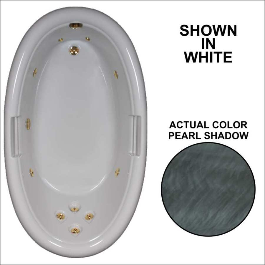 Watertech Whirlpool Baths Designer Pearl Shadow Acrylic Oval Whirlpool Tub (Common: 42-in x 72-in; Actual: 21.25-in x 40.5-in x 71.25-in)