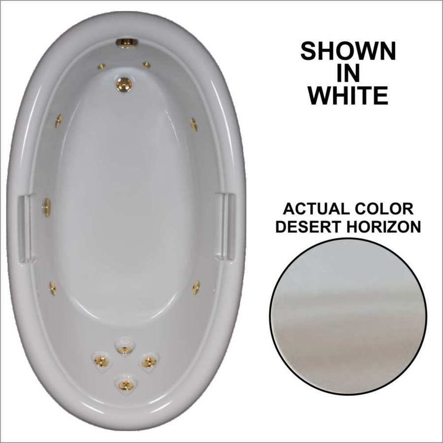 Watertech Whirlpool Baths Designer Desert Horizon Acrylic Oval Whirlpool Tub (Common: 42-in x 72-in; Actual: 21.25-in x 40.5-in x 71.25-in)