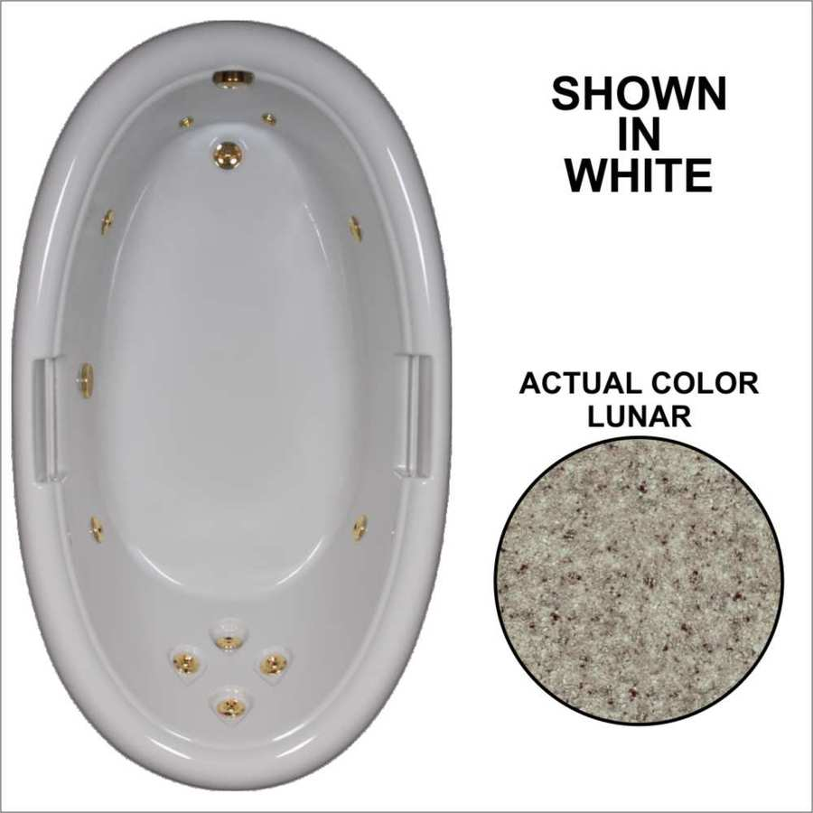 Watertech Whirlpool Baths Designer Lunar Acrylic Oval Whirlpool Tub (Common: 42-in x 72-in; Actual: 21.25-in x 40.5-in x 71.25-in)