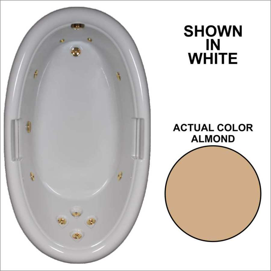 Watertech Whirlpool Baths Designer Almond Acrylic Oval Whirlpool Tub (Common: 42-in x 72-in; Actual: 21.25-in x 40.5-in x 71.25-in)