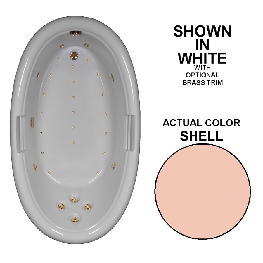 Watertech Whirlpool Baths Designer Shell Acrylic Oval Whirlpool Tub (Common: 42-in x 72-in; Actual: 22.25-in x 42-in x 72-in)