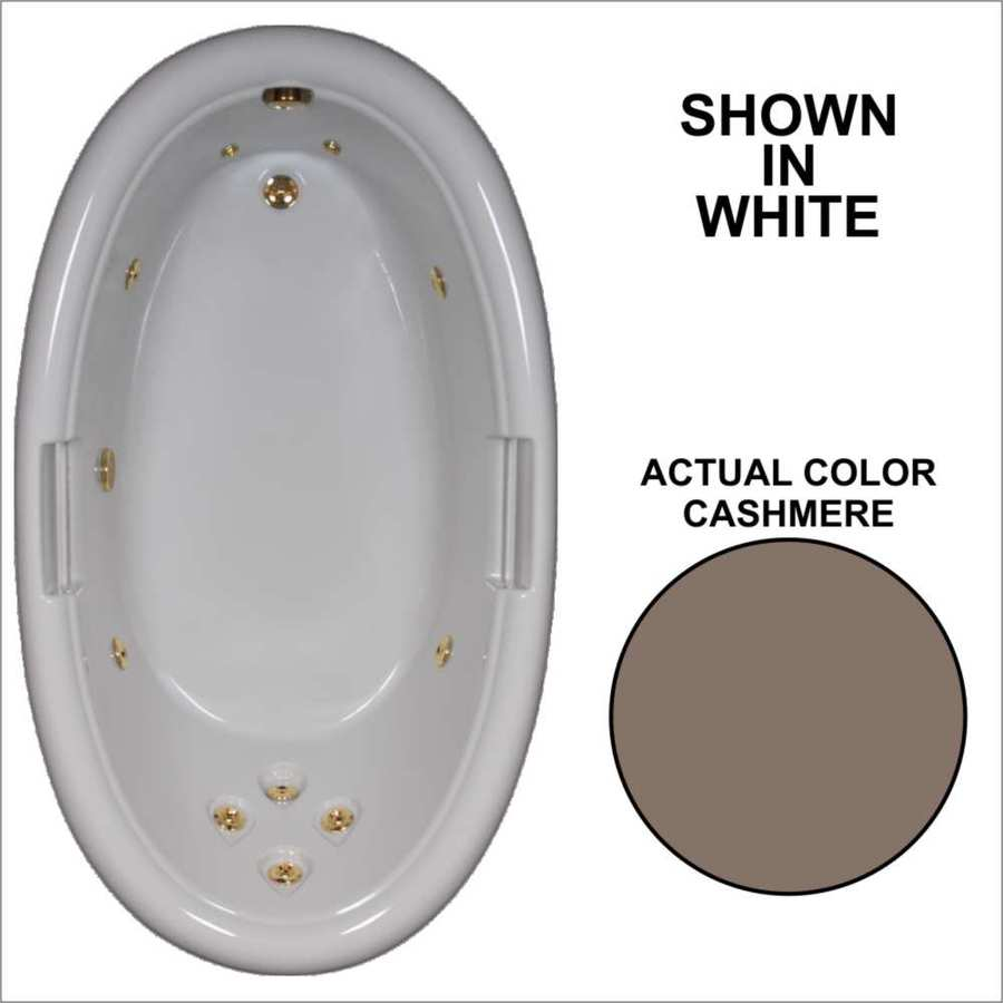 Watertech Whirlpool Baths Designer Cashmere Acrylic Oval Whirlpool Tub (Common: 42-in x 72-in; Actual: 21.25-in x 40.5-in x 71.25-in)