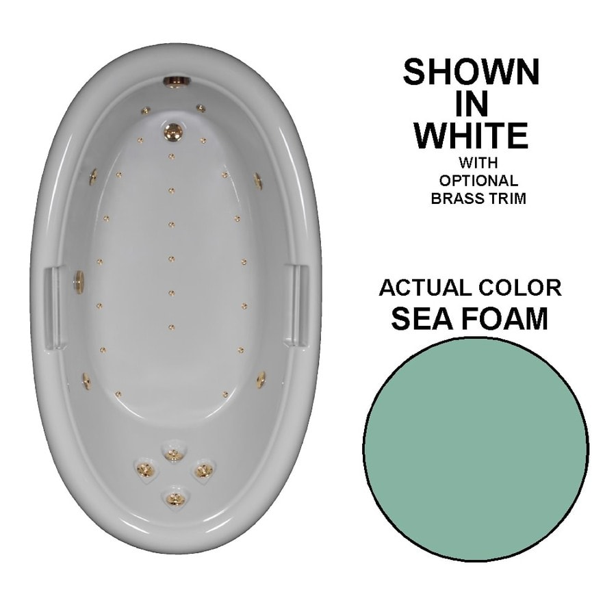 Watertech Whirlpool Baths Designer Seafoam Acrylic Oval Whirlpool Tub (Common: 42-in x 72-in; Actual: 22.25-in x 42-in x 72-in)