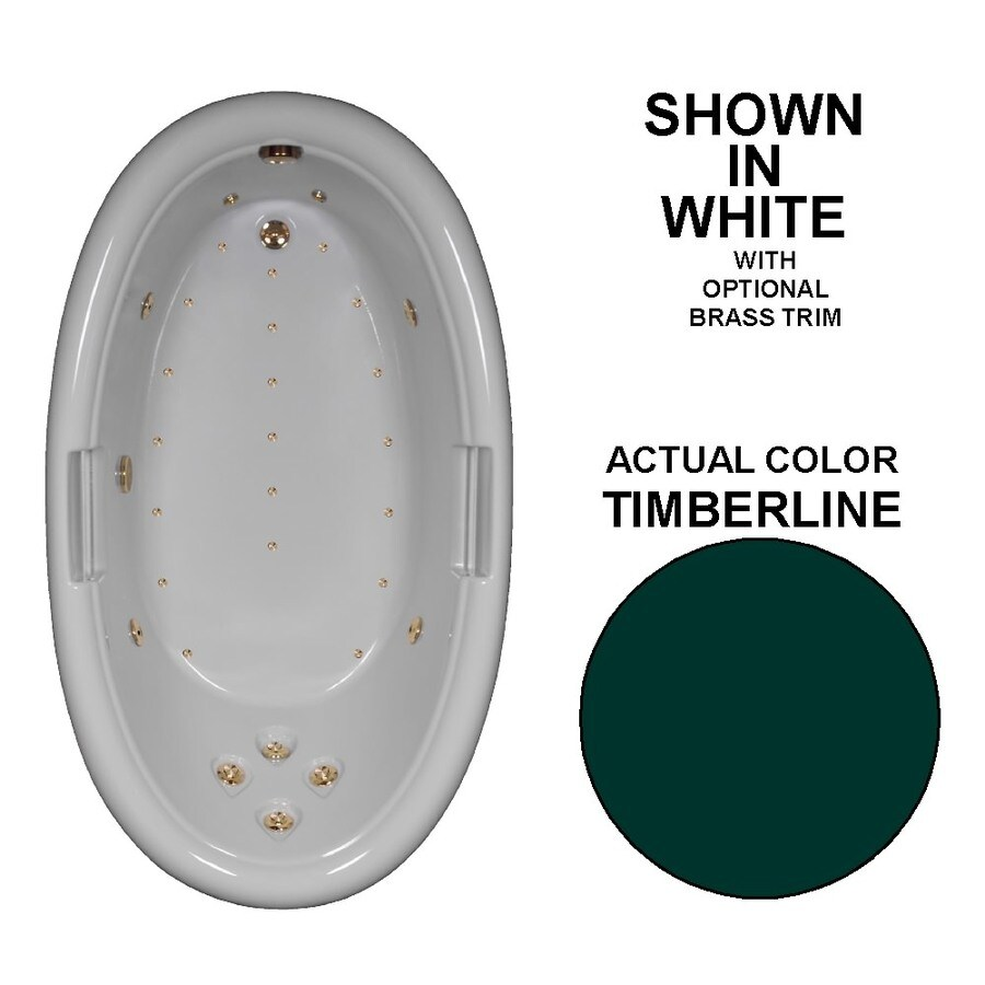 Watertech Whirlpool Baths Designer Timberline Acrylic Oval Whirlpool Tub (Common: 42-in x 72-in; Actual: 22.25-in x 42-in x 72-in)