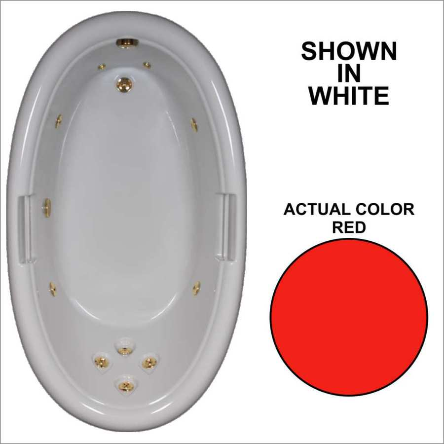 Watertech Whirlpool Baths Designer Red Acrylic Oval Whirlpool Tub (Common: 42-in x 72-in; Actual: 21.25-in x 40.5-in x 71.25-in)