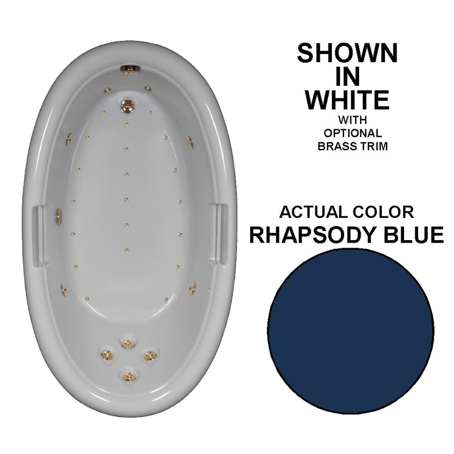 Watertech Whirlpool Baths Designer Rhapsody Blue Acrylic Oval Whirlpool Tub (Common: 42-in x 72-in; Actual: 22.25-in x 42-in x 72-in)