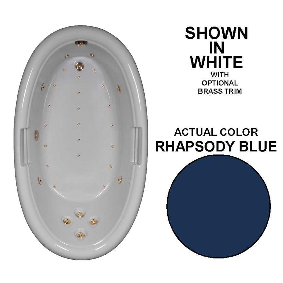 Watertech Whirlpool Baths Designer 72-in Rhapsody Blue Acrylic Drop-In Whirlpool Tub with Reversible Drain