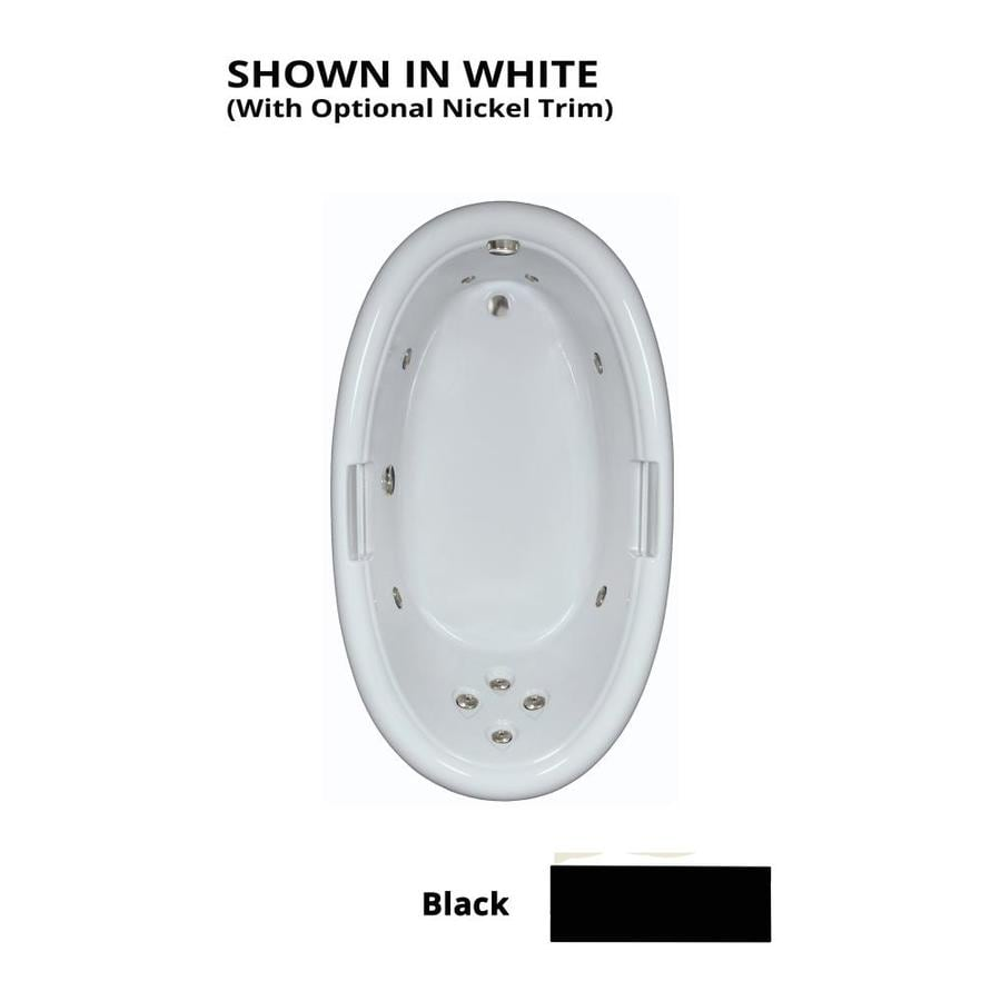 Watertech Whirlpool Baths Designer Black Acrylic Oval Whirlpool Tub (Common: 42-in x 72-in; Actual: 21.25-in x 40.5-in x 71.25-in)