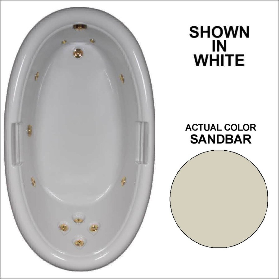 Watertech Whirlpool Baths Designer Sandbar Acrylic Oval Whirlpool Tub (Common: 42-in x 72-in; Actual: 21.25-in x 40.5-in x 71.25-in)