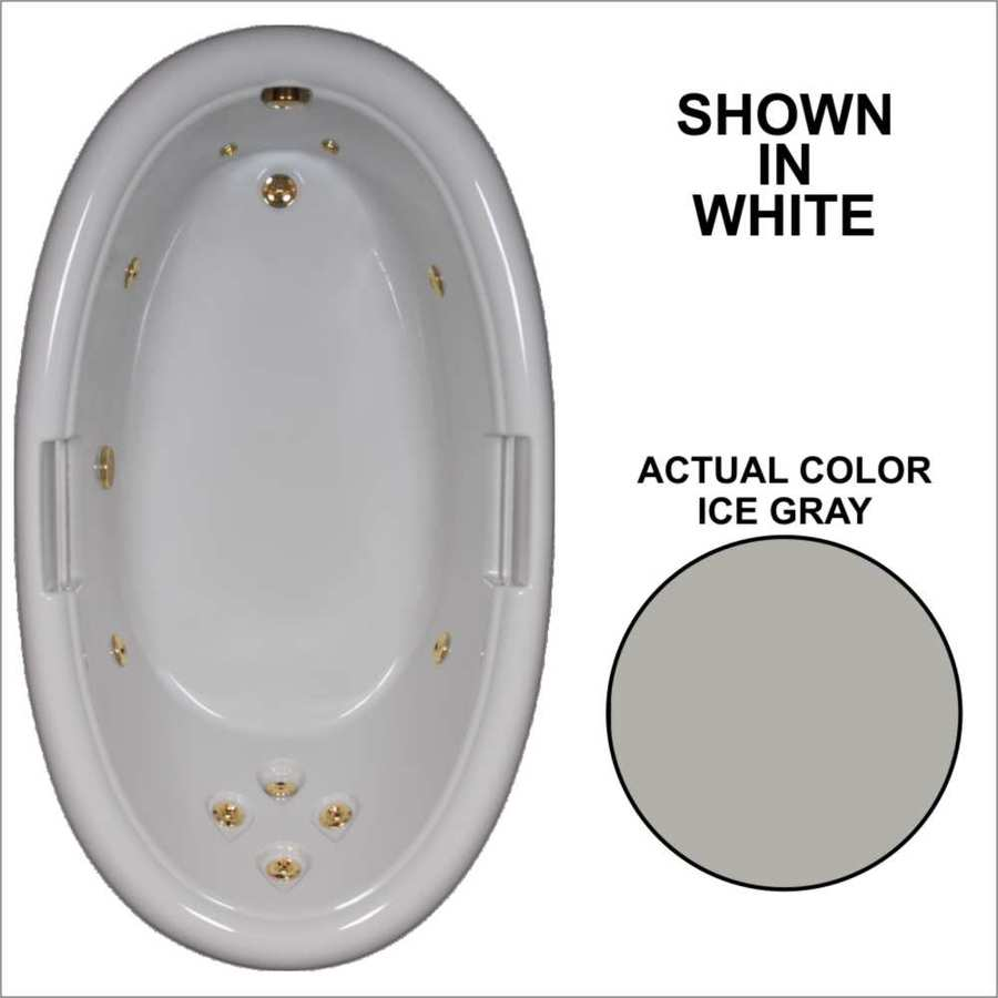 Watertech Whirlpool Baths Designer Ice Gray Acrylic Oval Whirlpool Tub (Common: 42-in x 72-in; Actual: 21.25-in x 40.5-in x 71.25-in)