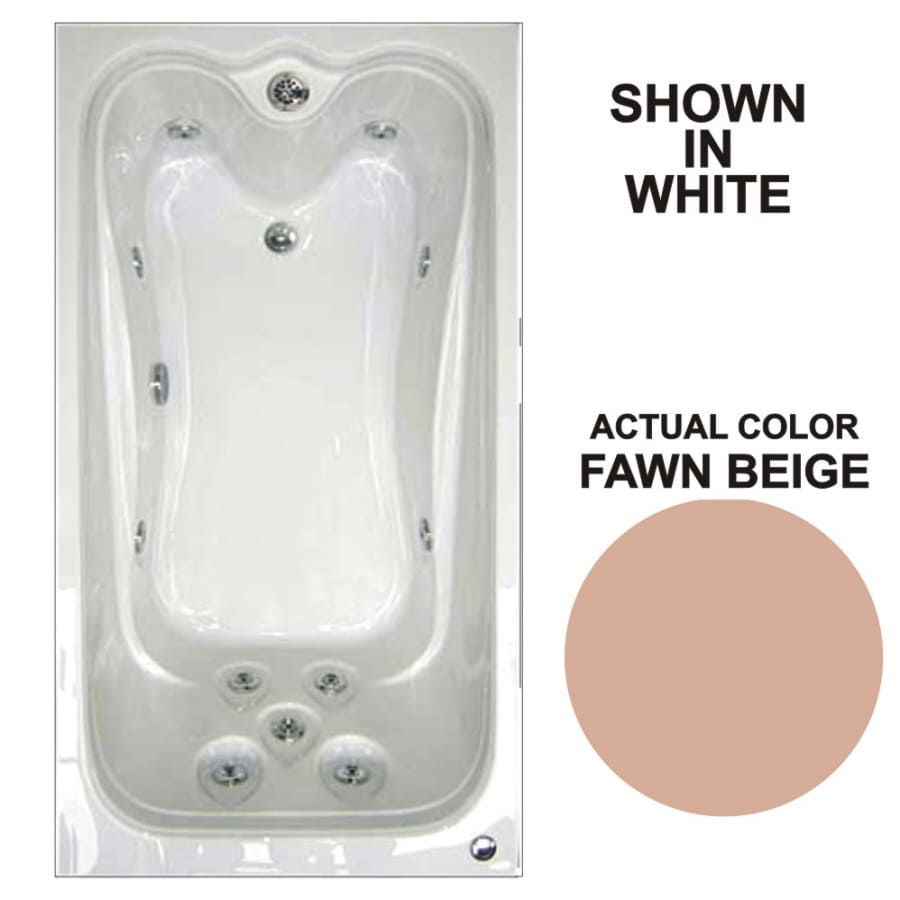 Watertech Whirlpool Baths Elite Fawn Beige Acrylic Rectangular Whirlpool Tub (Common: 42-in x 60-in; Actual: 21.88-in x 41.5-in x 59.75-in)