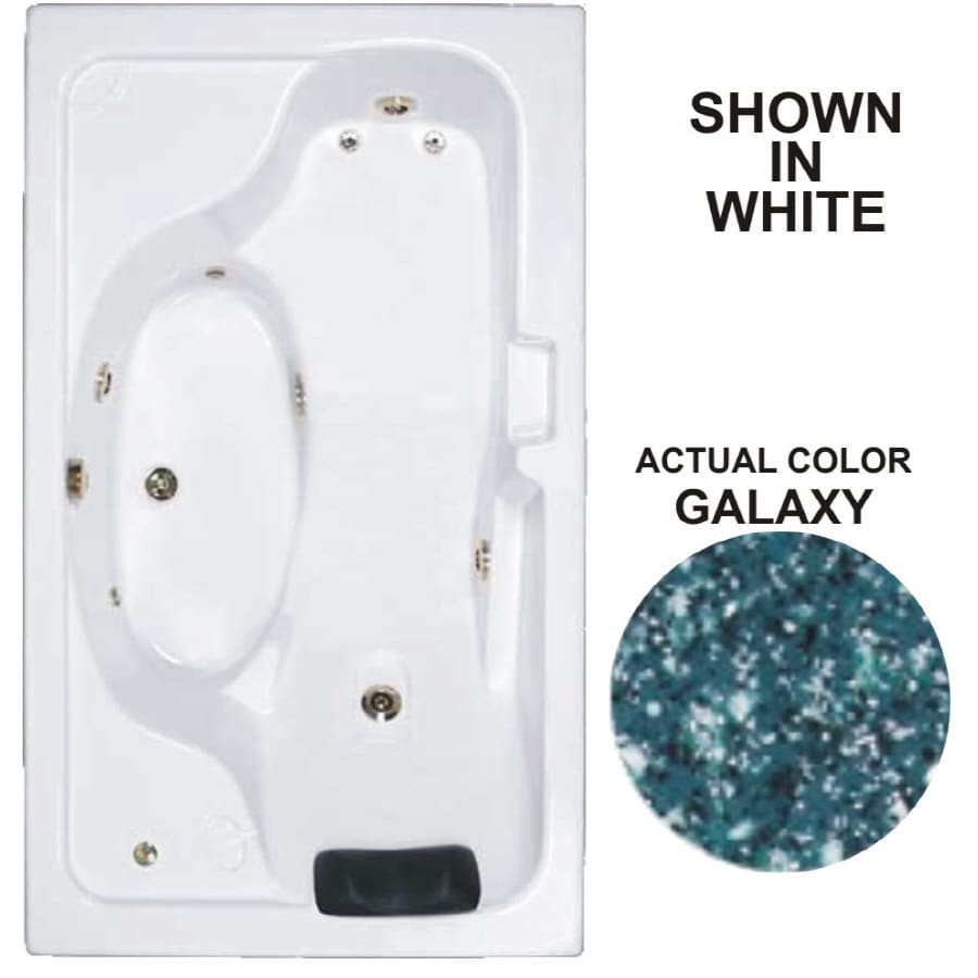 Watertech Whirlpool Baths Designer 72.625-in Galaxy Acrylic Drop-In Whirlpool Tub with Reversible Drain