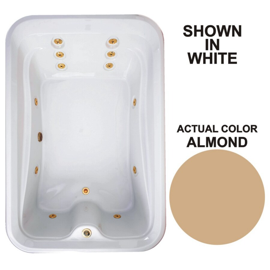Watertech Whirlpool Baths Elite 72-in Almond Acrylic Drop-In Whirlpool Tub with Reversible Drain