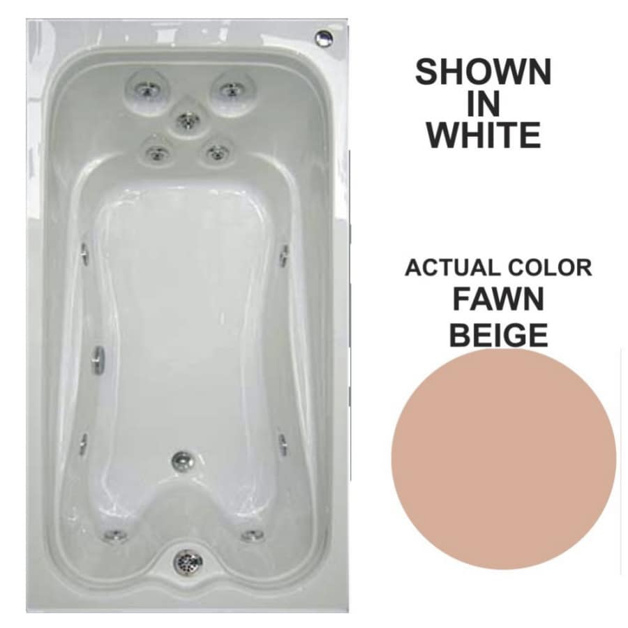 Watertech Whirlpool Baths Warertech Fawn Beige Acrylic Rectangular Whirlpool Tub (Common: 36-in x 72-in; Actual: 21.5-in x 36-in x 72-in)
