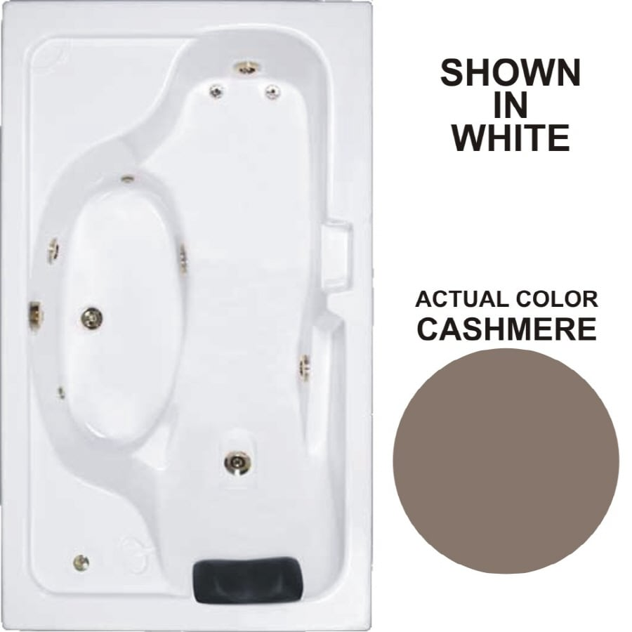 Watertech Whirlpool Baths Designer 72.625-in Cashmere Acrylic Drop-In Whirlpool Tub with Reversible Drain