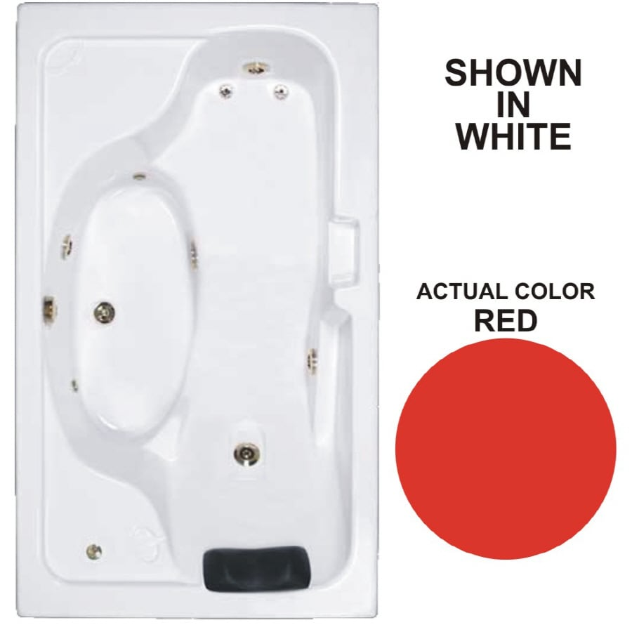 Watertech Whirlpool Baths Designer 72.625-in Red Acrylic Drop-In Whirlpool Tub with Reversible Drain