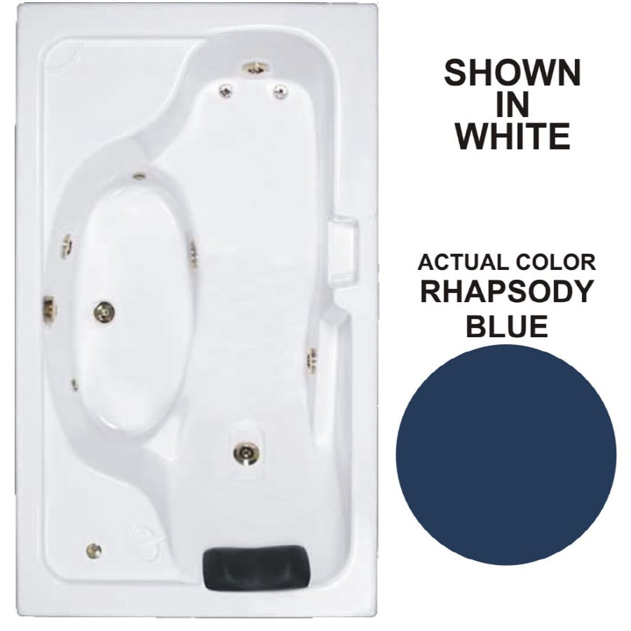 Watertech Whirlpool Baths Designer Rhapsody Blue Acrylic Rectangular Whirlpool Tub (Common: 42-in x 72-in; Actual: 22-in x 41.75-in x 72.625-in)