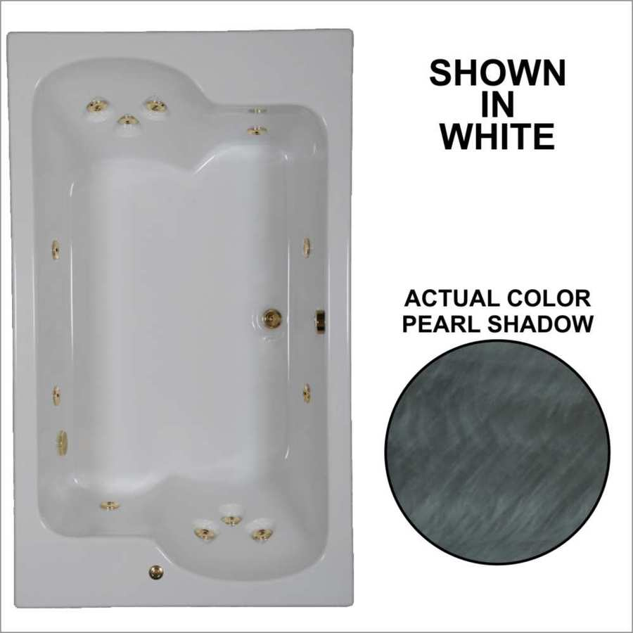 Watertech Whirlpool Baths Designer 2-Person Pearl Shadow Acrylic Rectangular Whirlpool Tub (Common: 43-in x 72-in; Actual: 23.25-in x 42.625-in x 71.75-in)