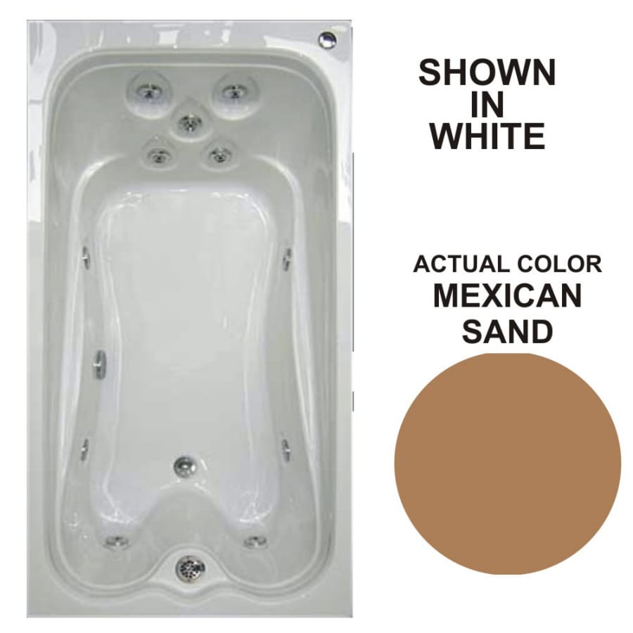 Watertech Whirlpool Baths Warertech 72-in Mexican Sand Acrylic Drop-In Whirlpool Tub with Reversible Drain