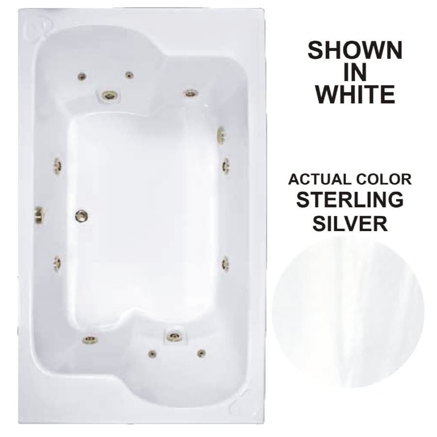 Watertech Whirlpool Baths Designer 2-Person Sterling Silver Acrylic Rectangular Whirlpool Tub (Common: 43-in x 72-in; Actual: 23.25-in x 42.625-in x 71.75-in)