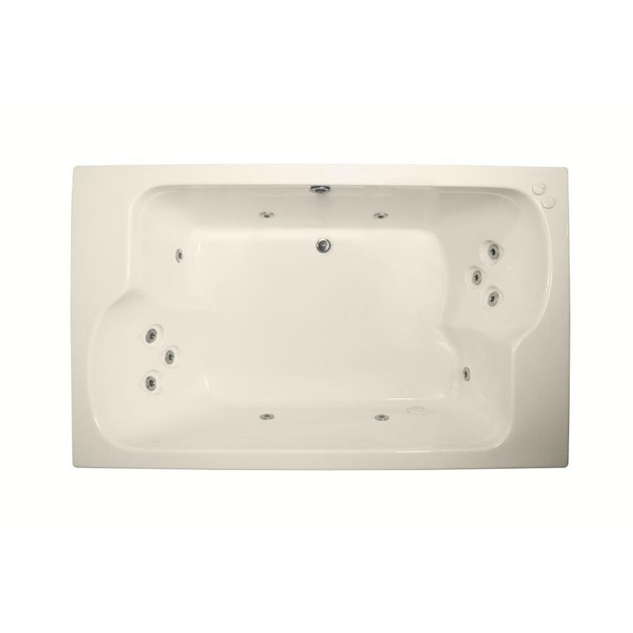 Watertech Whirlpool Baths Designer 2-Person Bone Acrylic Rectangular Whirlpool Tub (Common: 43-in x 72-in; Actual: 23.25-in x 42.625-in x 71.75-in)