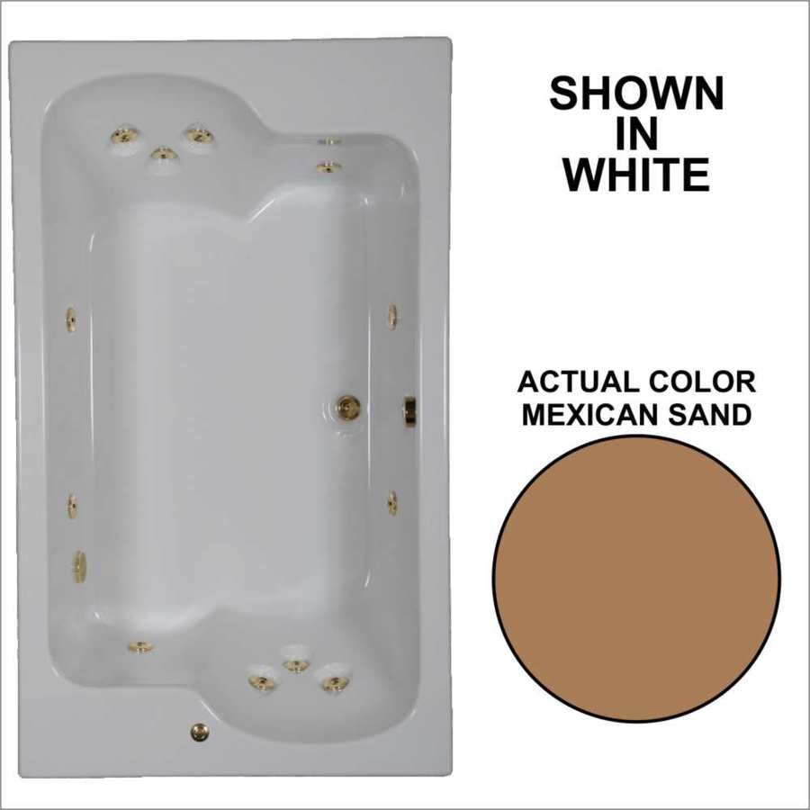 Watertech Whirlpool Baths Designer 71.75-in Mexican Sand Acrylic Drop-In Whirlpool Tub with Reversible Drain