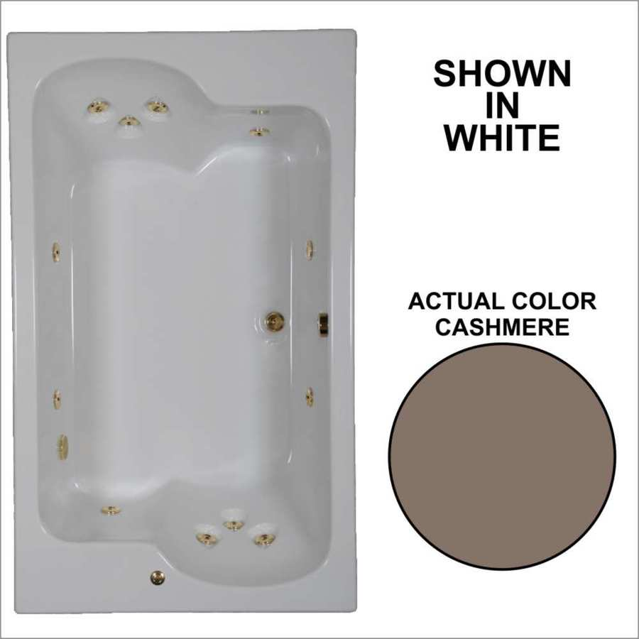 Watertech Whirlpool Baths Designer 71.75-in Cashmere Acrylic Drop-In Whirlpool Tub with Reversible Drain