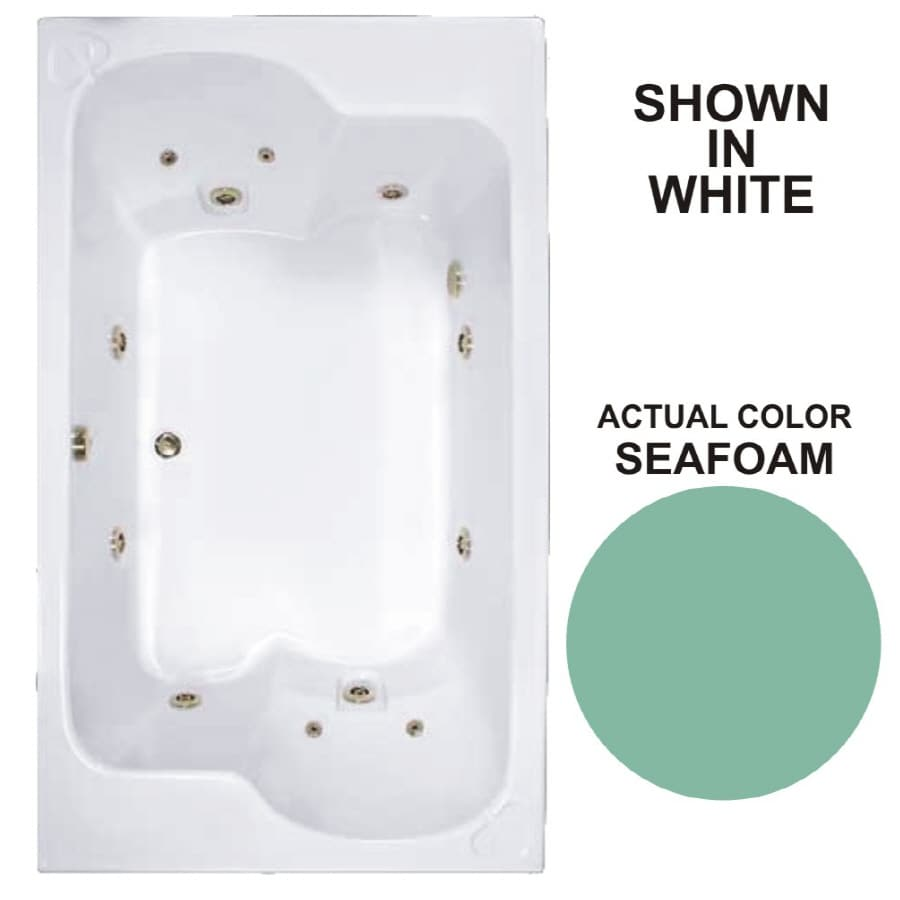 Watertech Whirlpool Baths Designer 2-Person Seafoam Acrylic Rectangular Whirlpool Tub (Common: 43-in x 72-in; Actual: 23.25-in x 42.625-in x 71.75-in)