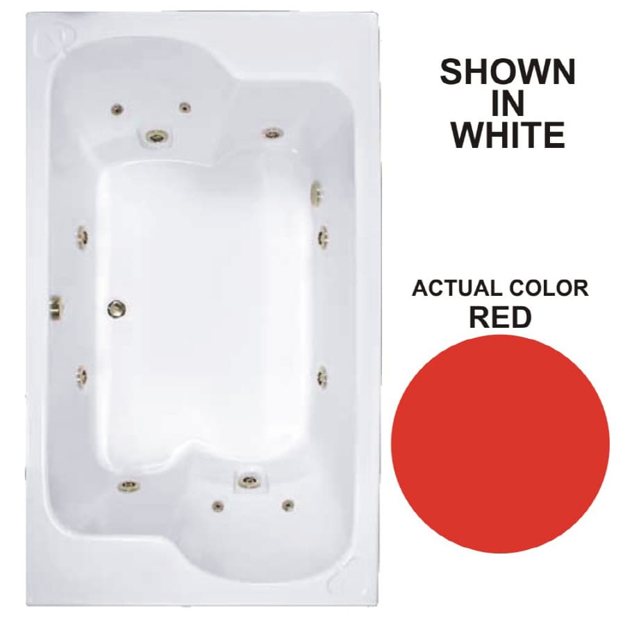 Watertech Whirlpool Baths Designer 2-Person Red Acrylic Rectangular Whirlpool Tub (Common: 43-in x 72-in; Actual: 23.25-in x 42.625-in x 71.75-in)