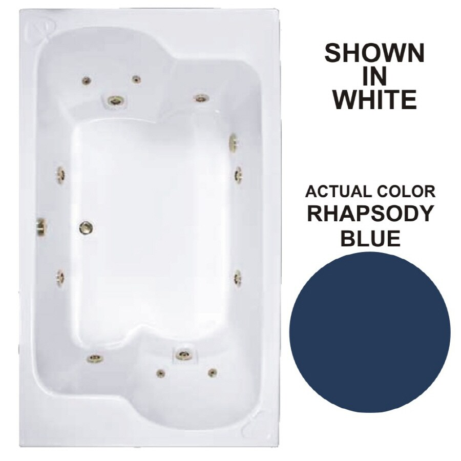 Watertech Whirlpool Baths Designer 71.75-in Rhapsody Blue Acrylic Drop-In Whirlpool Tub with Reversible Drain
