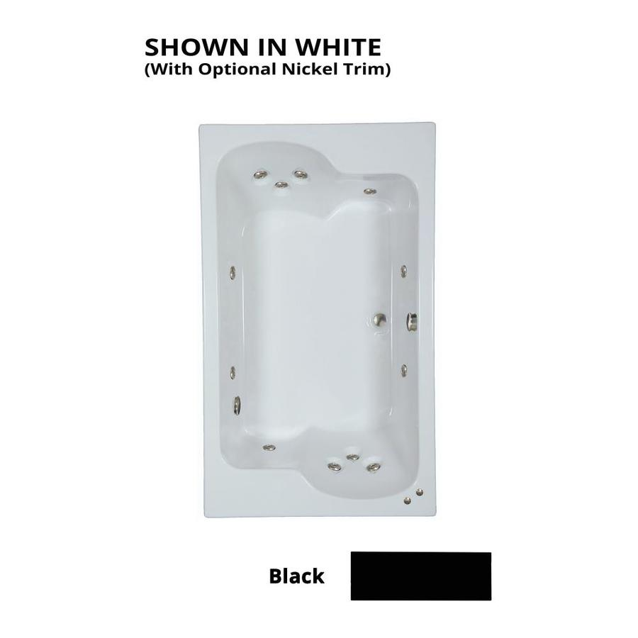 Watertech Whirlpool Baths Designer 2-Person Black Acrylic Rectangular Whirlpool Tub (Common: 43-in x 72-in; Actual: 23.25-in x 42.625-in x 71.75-in)