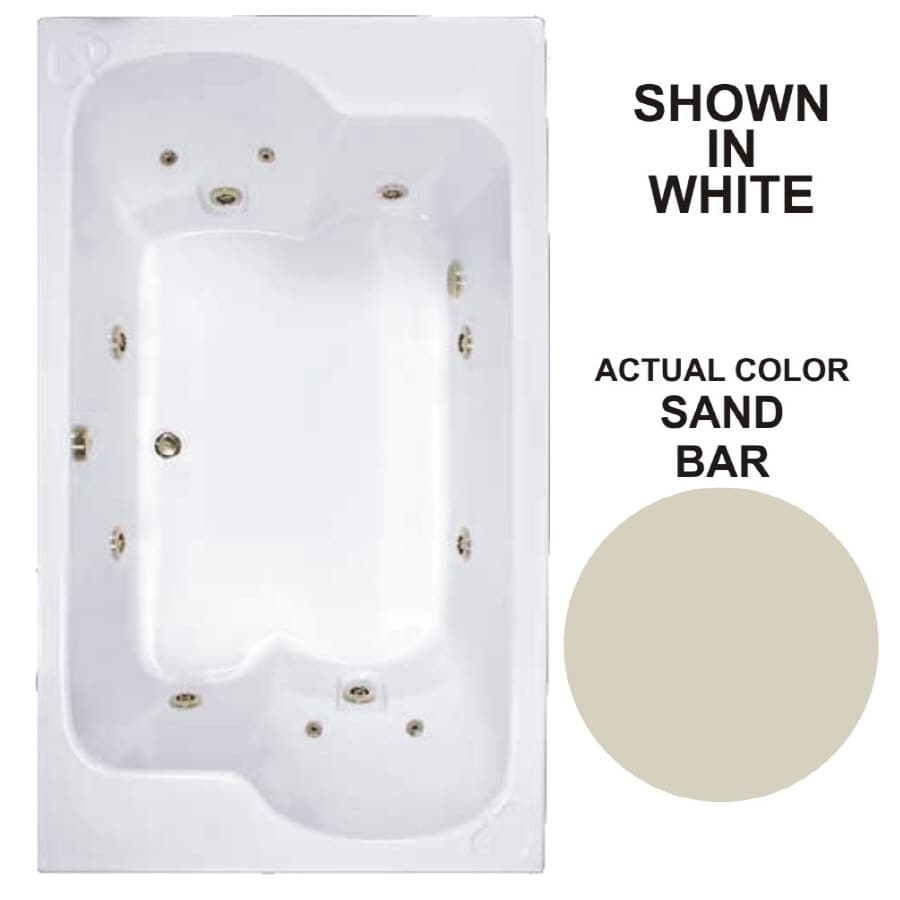 Watertech Whirlpool Baths Designer 2-Person Sandbar Acrylic Rectangular Whirlpool Tub (Common: 43-in x 72-in; Actual: 23.25-in x 42.625-in x 71.75-in)