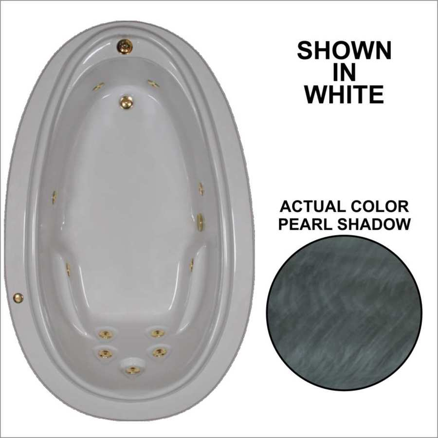Watertech Whirlpool Baths Elite 70.875-in Pearl Shadow Acrylic Drop-In Whirlpool Tub with Reversible Drain