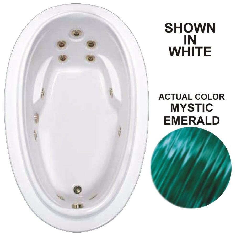 Watertech Whirlpool Baths Elite Mystic Emerald Acrylic Oval Whirlpool Tub (Common: 44-in x 72-in; Actual: 21.25-in x 44.125-in x 70.875-in)