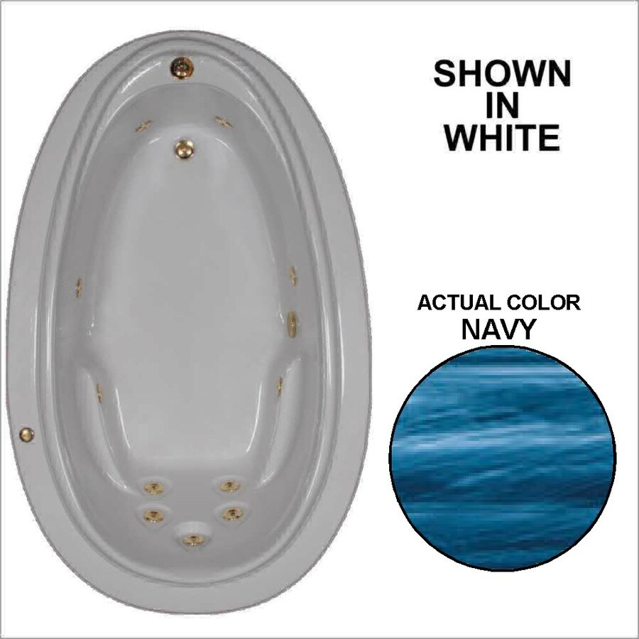 Watertech Whirlpool Baths Elite Navy Acrylic Oval Whirlpool Tub (Common: 44-in x 72-in; Actual: 21.25-in x 44.125-in x 70.875-in)