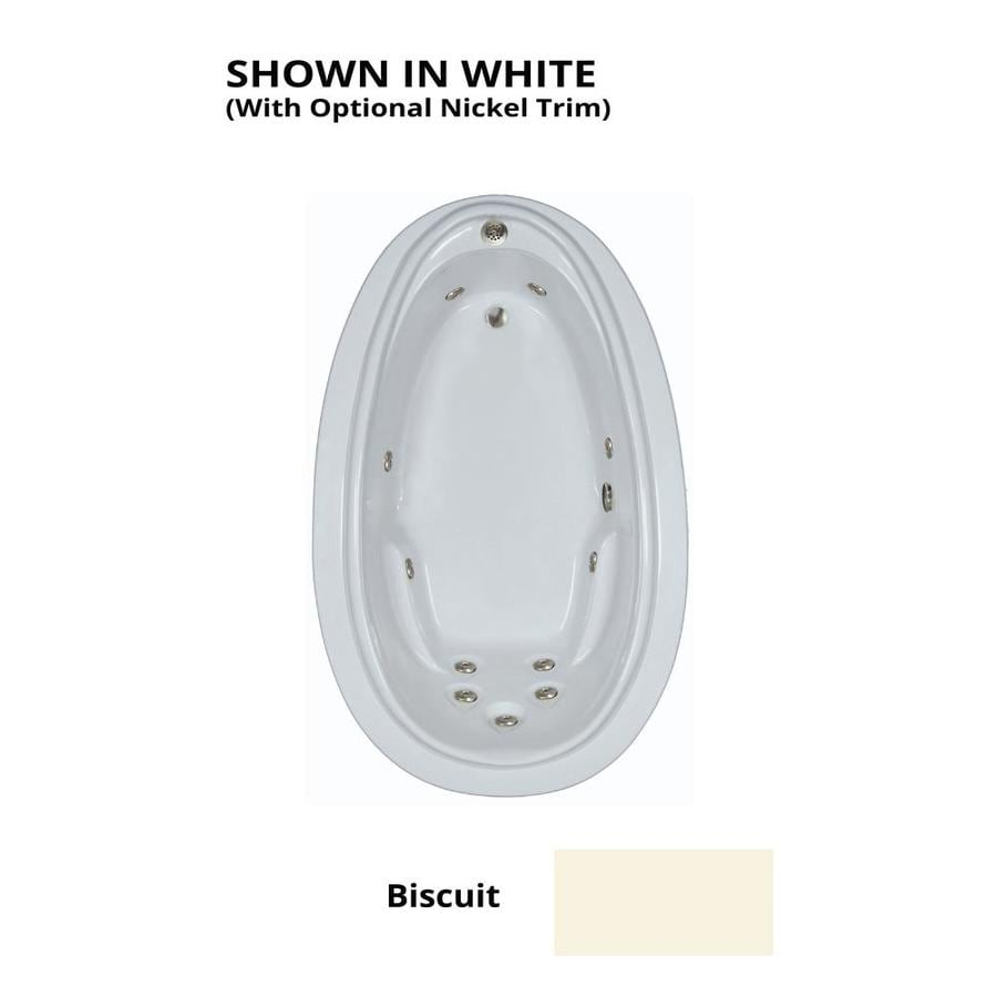 Watertech Whirlpool Baths Elite Biscuit Acrylic Oval Whirlpool Tub (Common: 44-in x 72-in; Actual: 21.25-in x 44.125-in x 70.875-in)