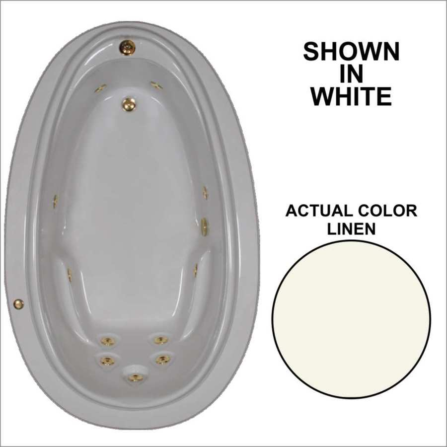 Watertech Whirlpool Baths Elite Linen Acrylic Oval Whirlpool Tub (Common: 44-in x 72-in; Actual: 21.25-in x 44.125-in x 70.875-in)